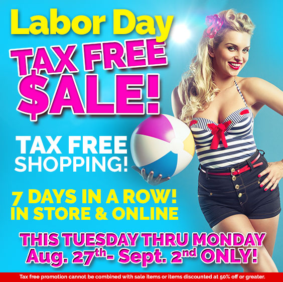 Diamond Adult Labor Day Tax Free Sale Aug. 27th - Sept. 2, 2019